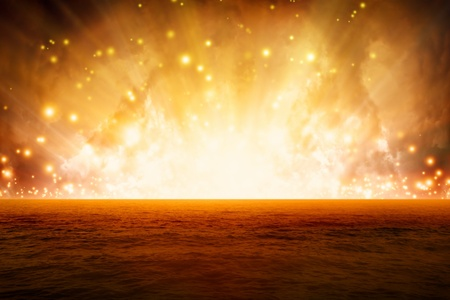 Abstract fantastic background, exploding red sea, end of world photo