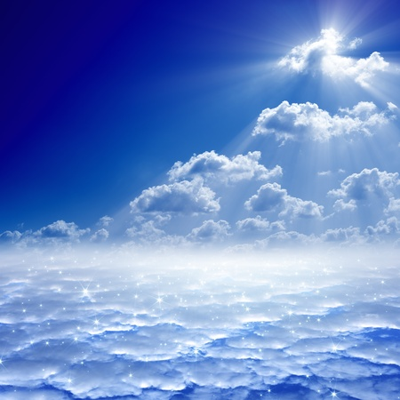 Peaceful background - blue sky, bright sun, heaven Stock Photo - 16832333