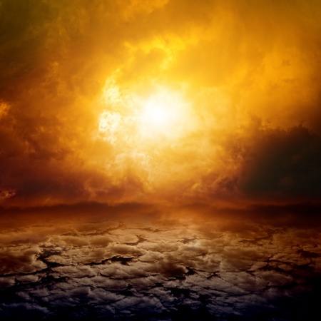 mystery of faith: Dramatic apocalyptic background, mayan end of world, red sunset, armageddon, hell