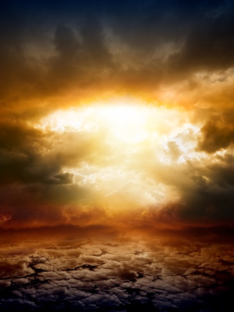 armageddon: Dramatic apocalyptic background, mayan end of world, red sunset, armageddon, hell, big explosion Stock Photo