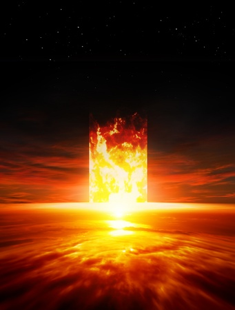 Dramatic background - red sunset, burning doorway, way to hell photo