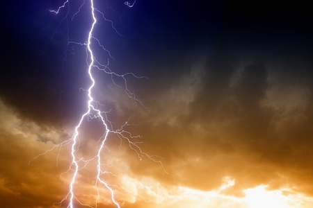 Dramatic background - lightning on sunset sky with dark clouds Stock Photo - 17106969