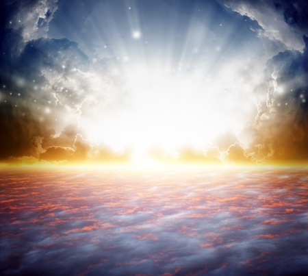 resurrection: Peaceful background - beautiful sunrise, bright sun beam, heaven