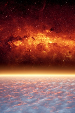 heaven and hell: Abstract scientific background - planet from space, red galaxy.