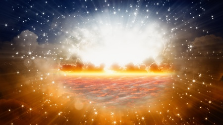 heavenly: Peaceful background - beautiful sky, bright sun and stars, view on heaven Stock Photo