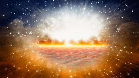 resurrección: Peaceful fondo - hermoso cielo, sol brillante y las estrellas, ver en el cielo Foto de archivo