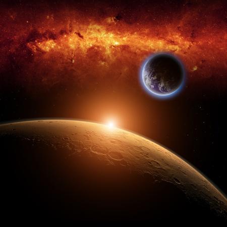 Abstracte wetenschappelijke achtergrond - planeten Aarde en Mars in de ruimte, rood melkweg, felle rode zon
