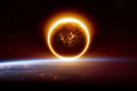 nibiru: Abstract apocalyptic background - sunset, impact of exploding planet, end of world   Stock Photo