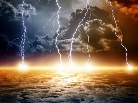 Fondo dramático apocalíptico fin del mundo, relámpagos brillantes, armageddon