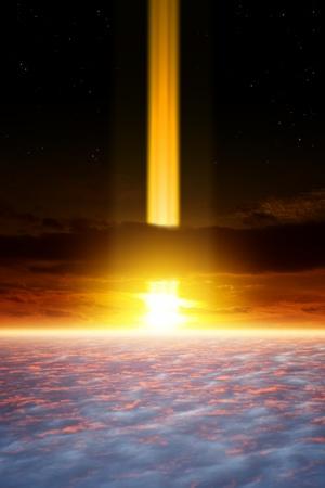 Dramatic apocalyptic background, end of world, spotlight in dark sky, armageddon, asteroid impact Stock Photo - 17360258