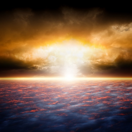Dramatic apocalyptic background, end of world, red sunset, armageddon, hell, big explosion photo