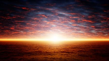 Beautiful nature background - red sunset over dark sea photo