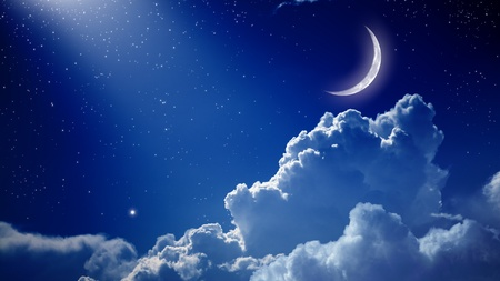 peaceful: Peaceful background, blue night sky with moon, stars, beautiful clouds and bright spotlight from above
