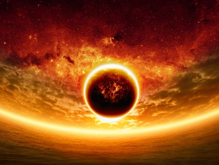 nibiru in space: Abstract apocalyptic background - sunset on sea, red sky, exploding planet, end of world