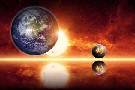 nibiru in space: Abstract scientific background - planet earth, big sun, small exploding planet, red galaxy