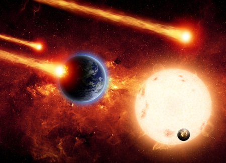 Abstract scientific background - asted impact planet earth, big sun, small exploding planet, red galaxy Stock Photo - 17691115