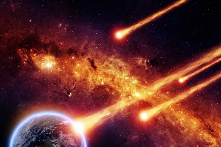 Abstract scientific background - asteroid impact planet earth, red galaxy. Stock Photo - 17691120
