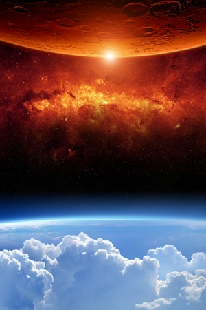 heaven on earth: Abstract scientific background - planet earth red aliens planet, red galaxy.