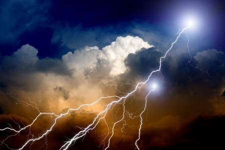 lightnings: Dramatic background - lightnings in sunset sky with dark clouds