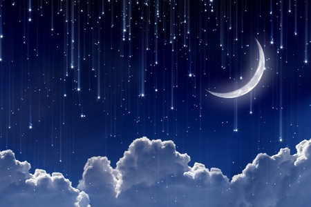 Peaceful background, night sky with moon, stars, beautiful clouds. Elements of this image furnished by NASA Stock Photo