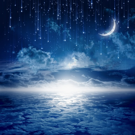 Peaceful background, blue night sky with moon, stars, beautiful clouds, glowing horizon. Elements of this image furnished by NASA Stock Photo