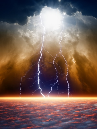 rainstorm: Dramatic apocalyptic background, end of world, bright lightnings, light from above, armageddon.