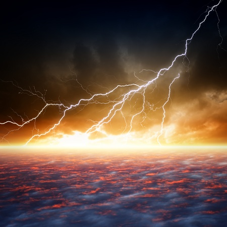 Dramatic apocalyptic background, end of world, bright lightnings, armageddon, hell photo