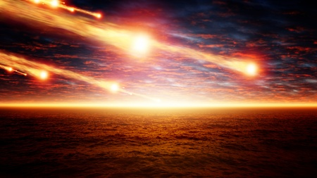 end of the world: Abstract scientific background - asteroid impact, sunset over sea, glowing horizon