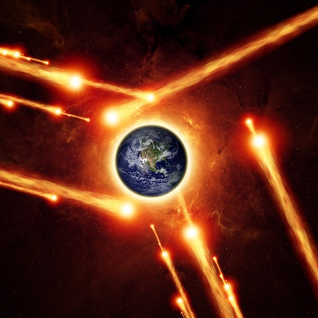 Abstract scientific background - asteroid impact planet earth, red galaxy  Elements of this image furnished by NASA JPL-Caltech Stock Photo - 17842459