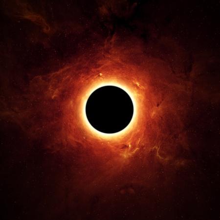 zwart gat: Abstracte wetenschappelijke achtergrond - volledige zonsverduistering, zwart gat. Stockfoto