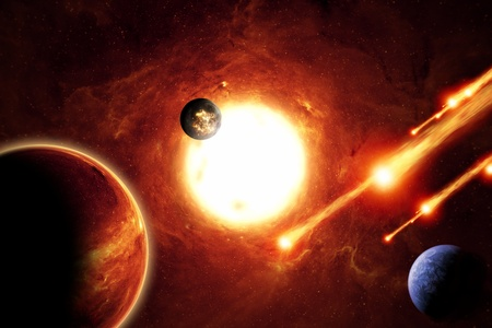 nibiru: Abstract scientific background - alien solar system, asteroids, planets, red galaxy. Elements of this image furnished by NASAJPL-Caltech Stock Photo