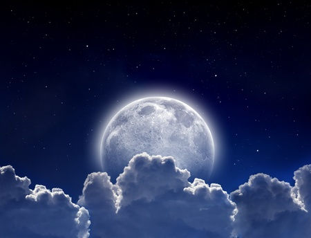Peaceful background, night sky with full moon, stars, beautiful clouds. Elements of this image furnished by NASA photo