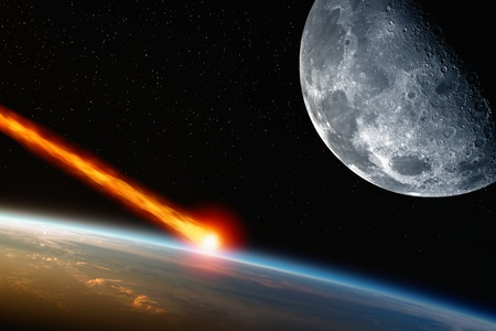 impacts: Abstract scientific background - asteroid impact planet earth, moon in space.