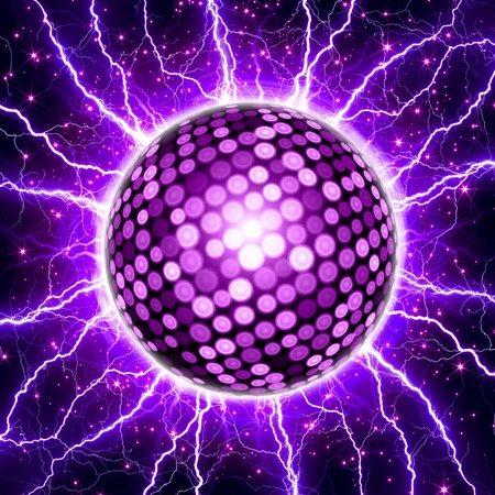 ball lightning: Abstract celebration background - pink disco ball, bright lightnings, stars - party Stock Photo