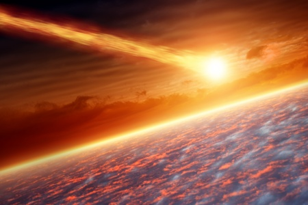 Abstract scientific background - asteroid impact planet earth photo