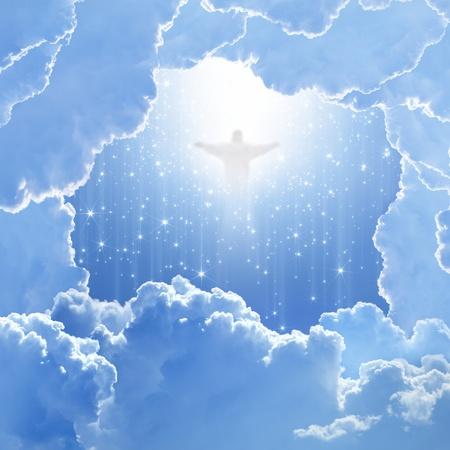 heaven: Jesucristo en el cielo azul con nubes blancas y estrellas fugaces - cielo, pascua