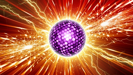 ball lightning: Abstract celebration background - pink disco ball, bright colorful lights, stars - party