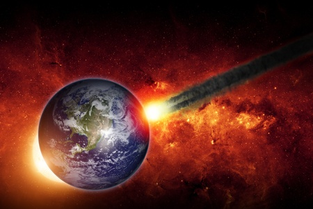 Abstract scientific background - asteroid impact planet earth, Stock Photo - 18158843