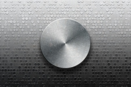 solidity: Concept os stability and safety, metallic panel with knob