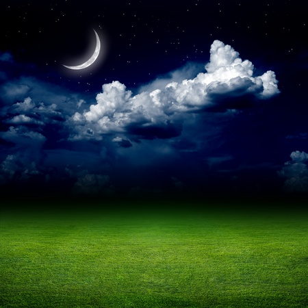 Night view of green grass field. Dark sky with white clouds, moon and stars. Elements of this image furnished by NASA photo