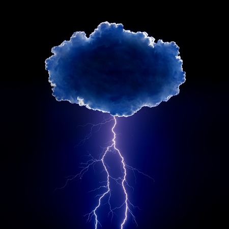 Nature force background - cloud with lightnings in night dark sky Stock Photo - 18349044