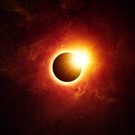 Abstract scientific background - full sun eclipse Stock Photo - 18523960