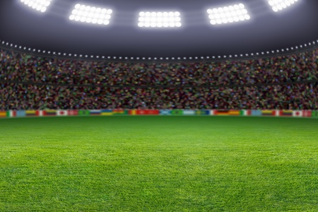 football stadium: Green soccer stadium, illuminated field, arena in night
