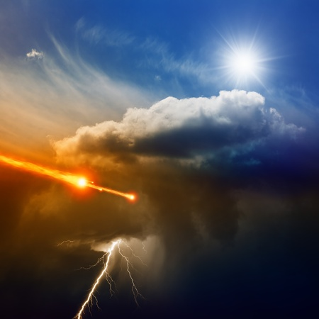hell: Dramatic background - lightning in dark stormy sky, sun shines from above,  asteroid, meteorite impact Stock Photo