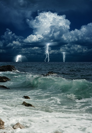 Dramatic nature background - lightnings in dark sky, stormy sea Stock Photo - 18905491