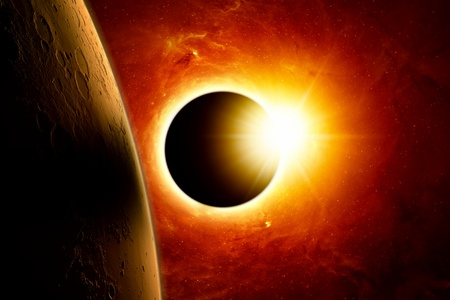Abstract scientific background - planet mars, full sun eclipse