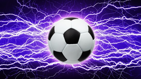 Sports background - soccer ball, bright powerful lightnings photo