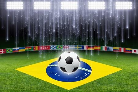 Green soccer, football stadium, soccer ball, bright light, Brazil flag, falling stars