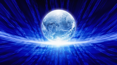 it background: Abstract IT background - transparent earth globe, bright blue characters, information transfer in network.