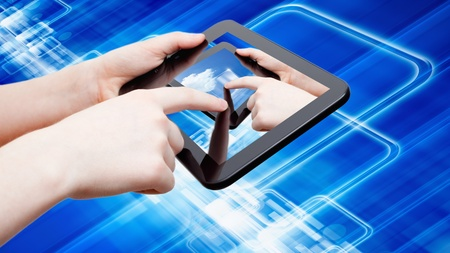 Information technology background - abstract tablet computer in hands, multimedia gadget, augmented reality photo